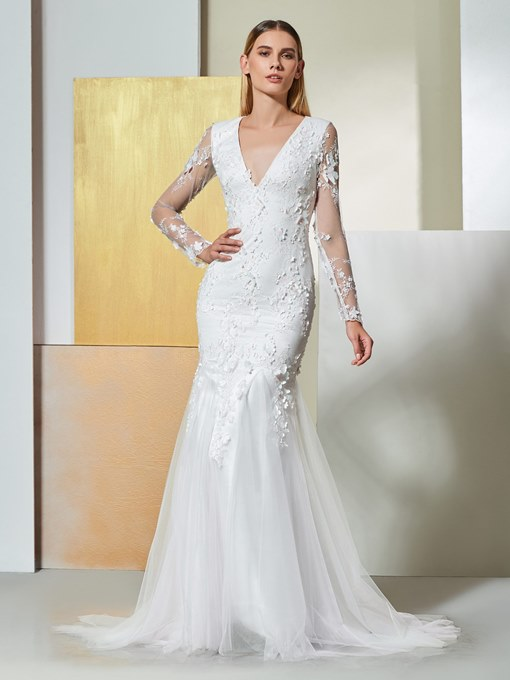 Ericdress Long Sleeves Mermaid Appliques Wedding Dress