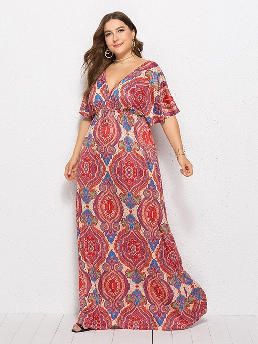 Ericdress Plus Size African Fashion Floor-Length Half Sleeve Expansion Floral Dress