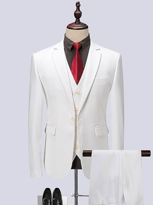Ericdress White Plain 3 Pieces Mens Wedding Suits