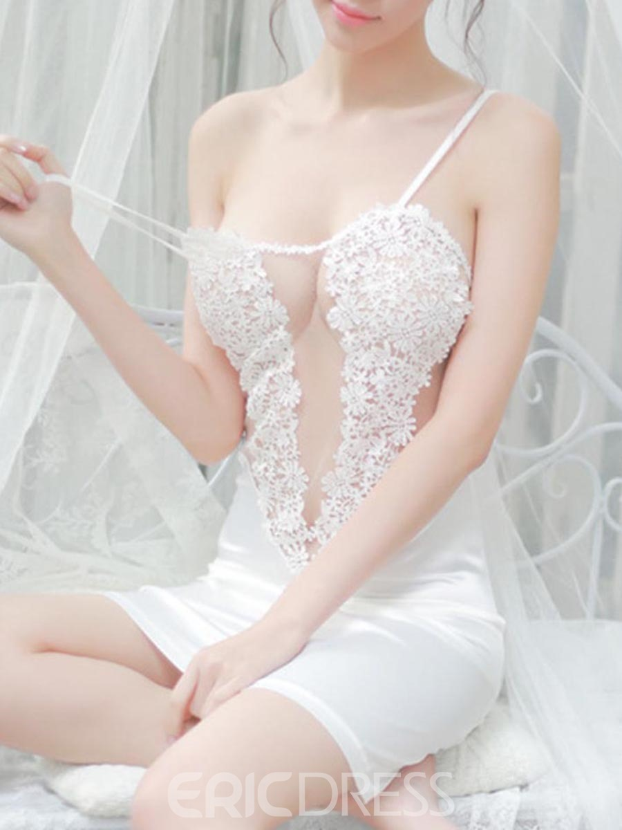 Eridress Lace Embroidery Semi-sheer Backless Babydoll Nightdress
