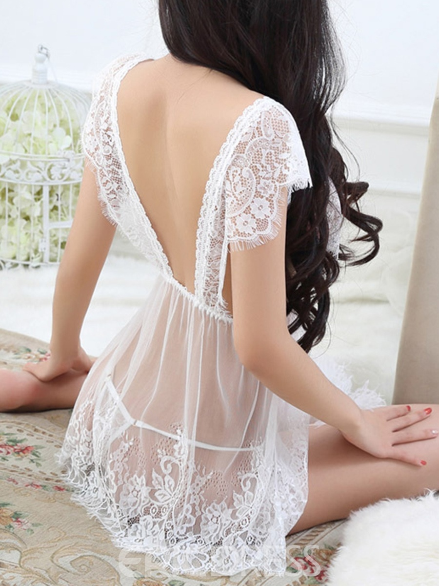 Eridress Eyelash Lace See-Through Short Sleeve Babydoll