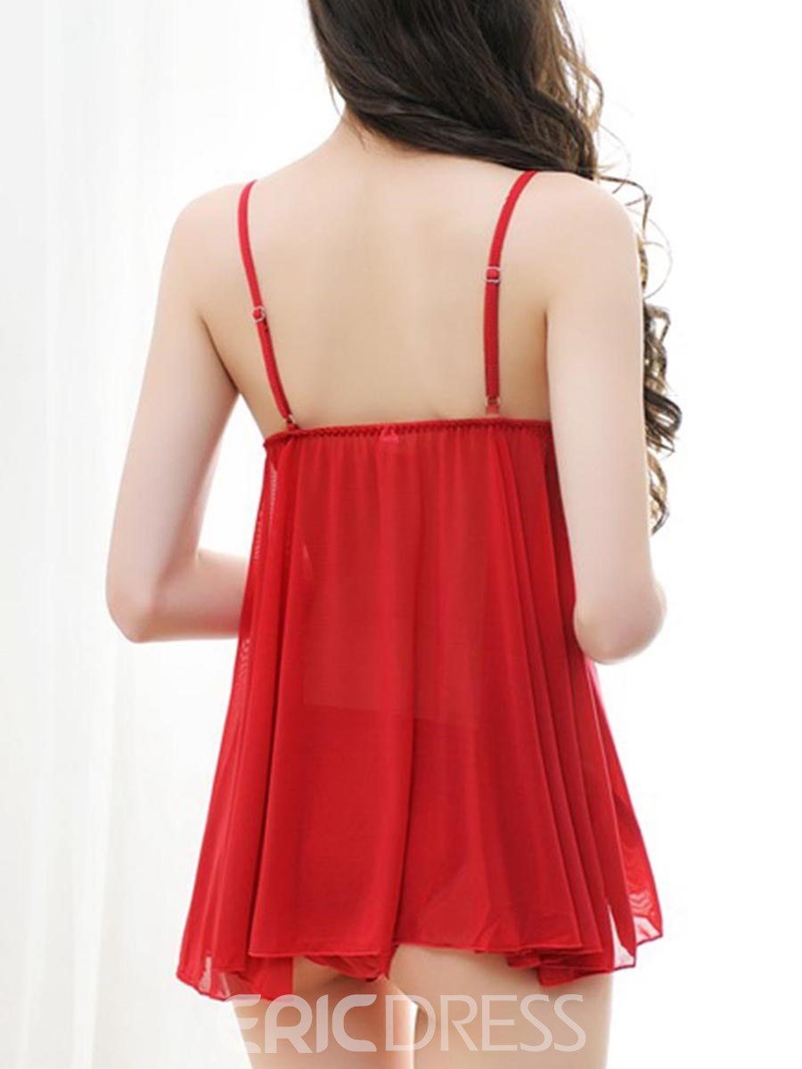 Eridress Sexy Plunge Embroidery Patchwork Babydoll