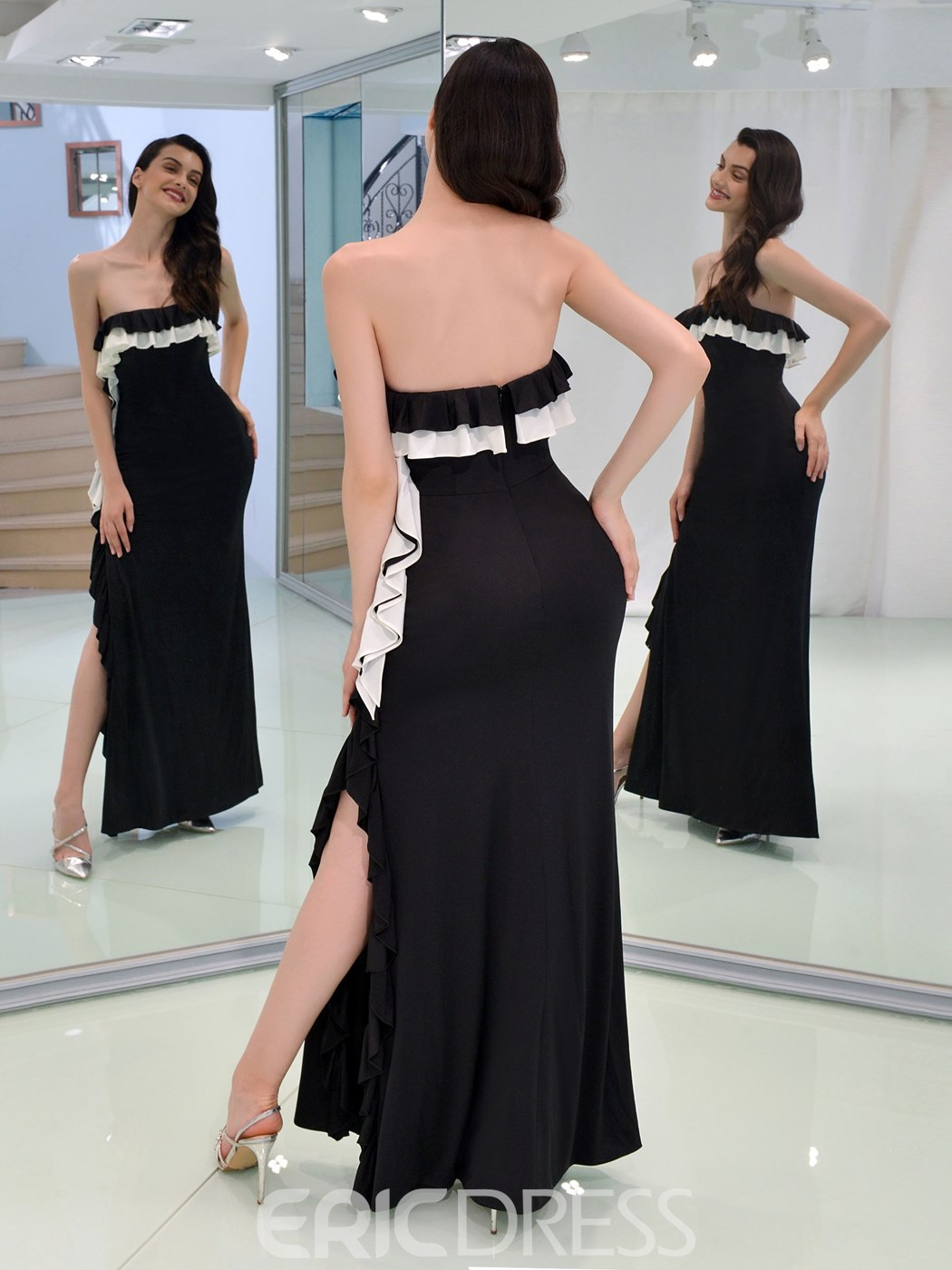 Ericdress Sheath Strapless Black Prom Dress With Slit
