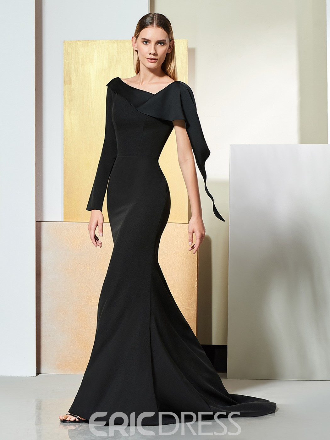 92a4f321cedc Ericdress One Shoulder Long Sleeve Black Mermaid Evening Dress ...