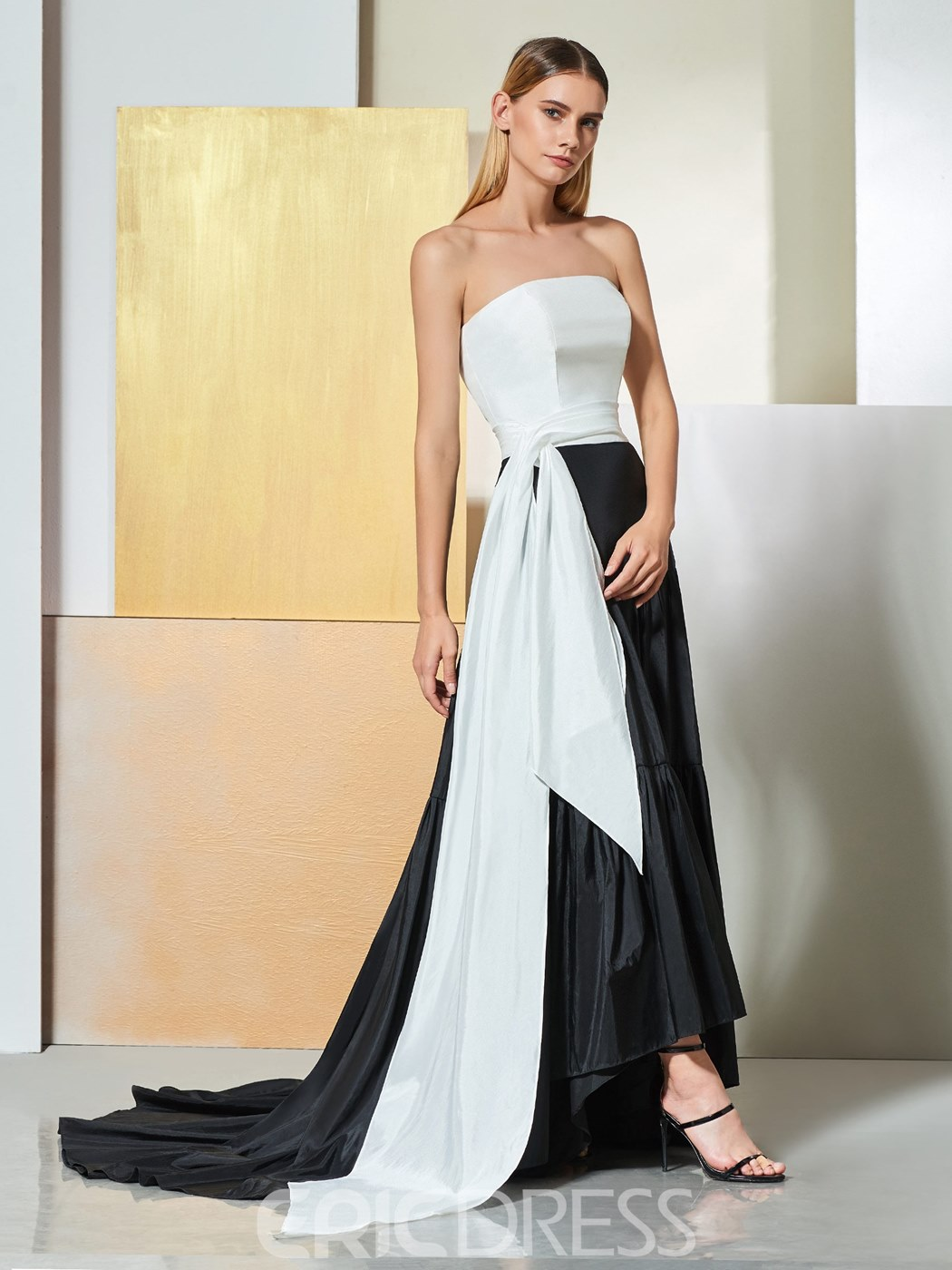 Ericdress A Line Strapless Black And White Evening Dress