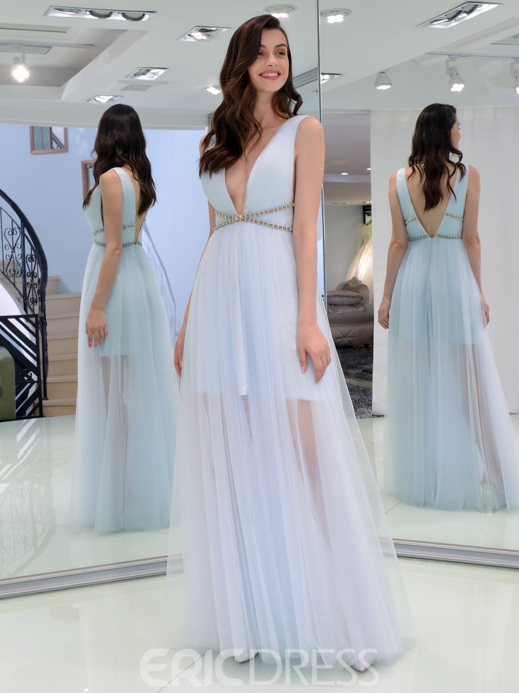 Ericdress A Line V Neck Backless Prom Dress With Beadings
