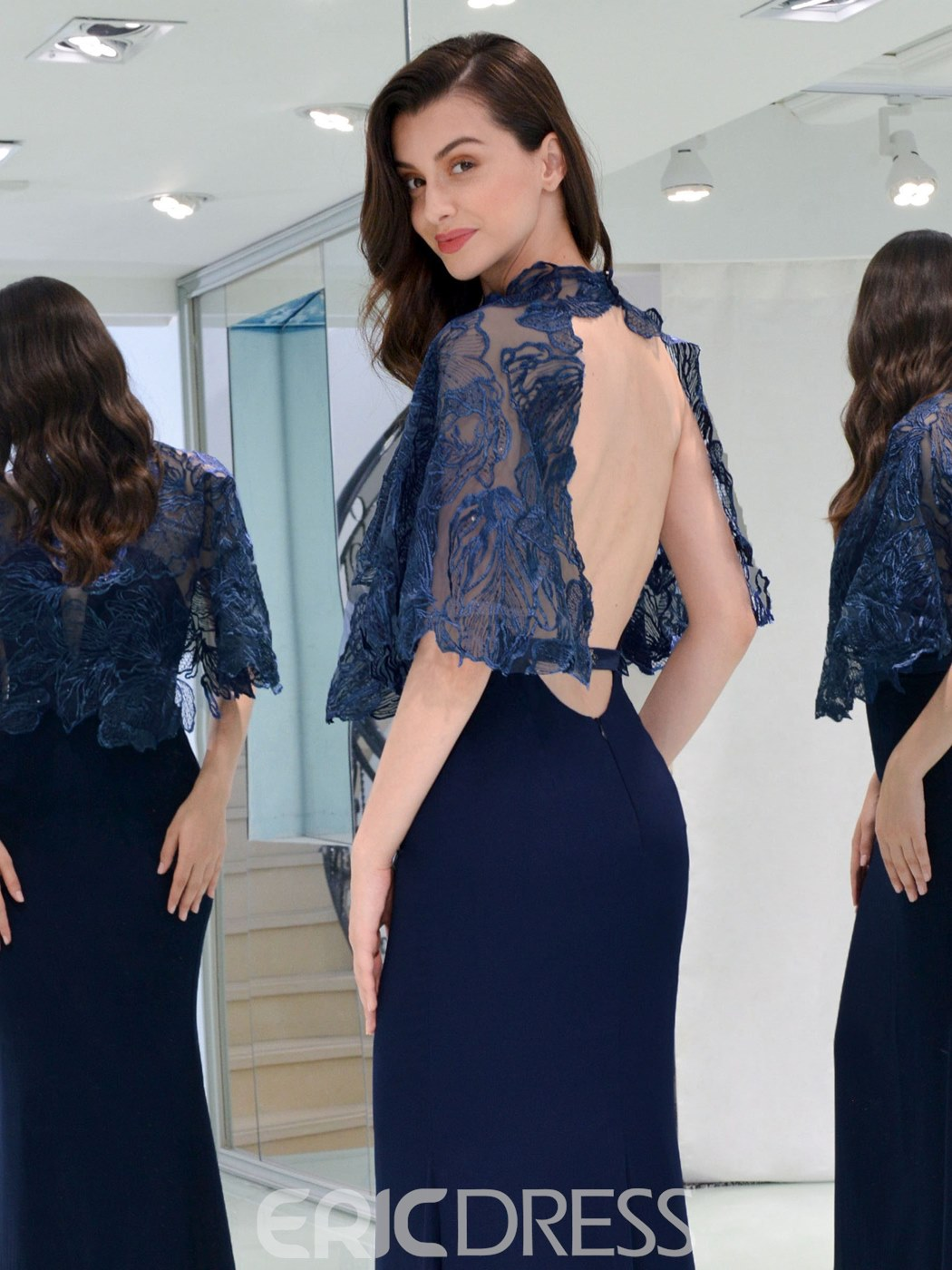 Ericdress Backless Mermaid Evening Dress With Lace Cape