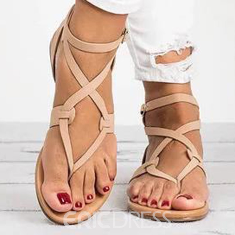 b1f5bed59d6 Ericdress Strappy Plain Buckle Thong Flat Sandals 13344516 ...