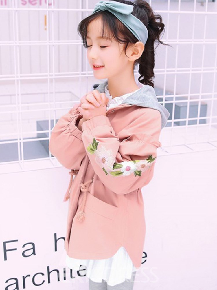 Ericdress Appliques Lace Up Floral Hooded Girl's Outerwears