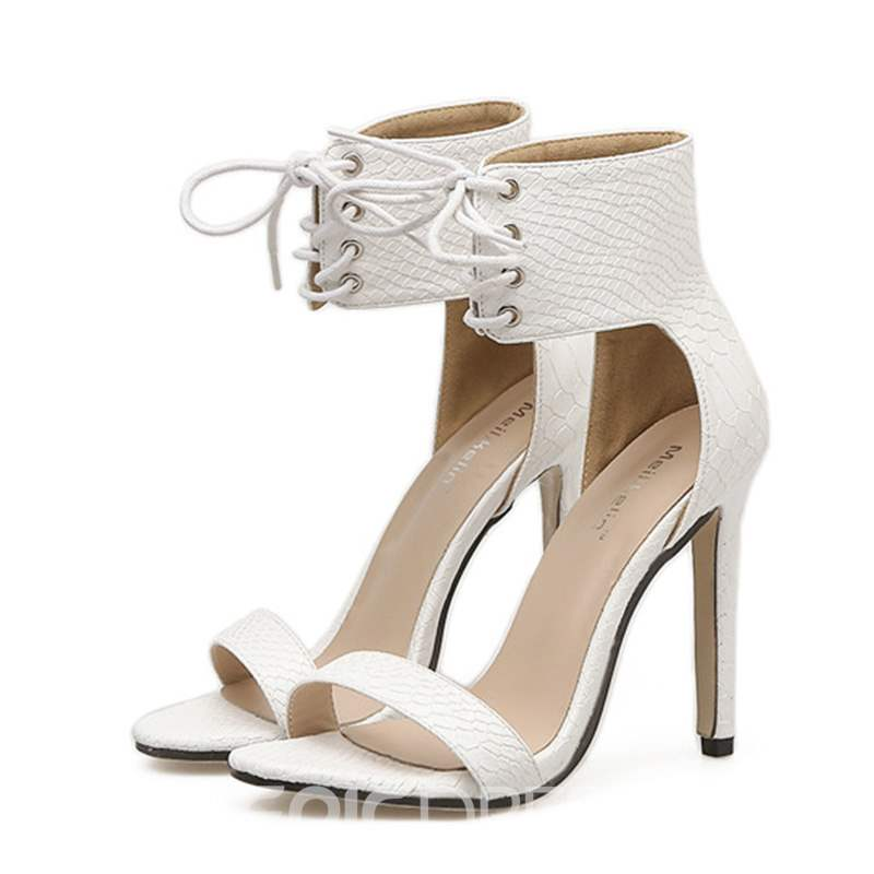Ericdress Lace-Up Heel Covering High-Cut Stiletto Sandals