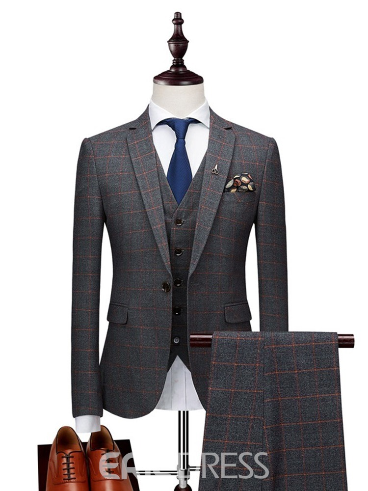 Ericdress Plaid Blazer Pants Vest Mens Casual Business Suits
