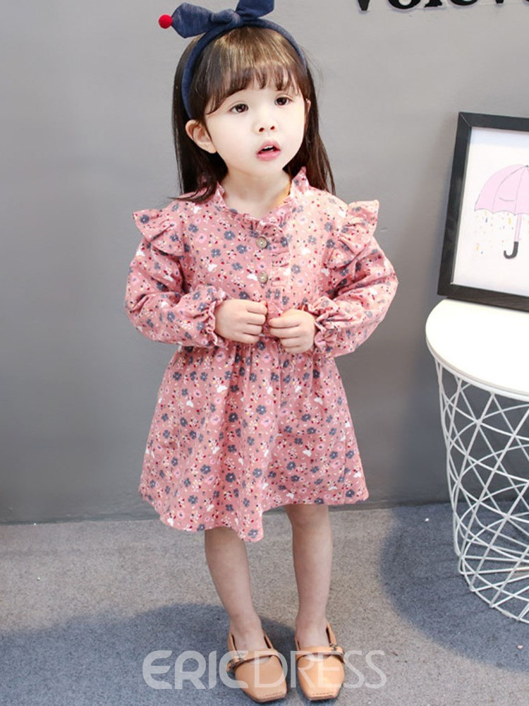Ericdress Pleated Printed Stringy Selvedge Long Sleeve Girl's Dress