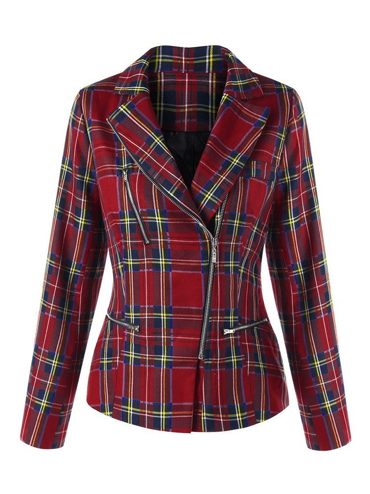 Ericdress Print Notched Lapel Zipper Plaid Blazer