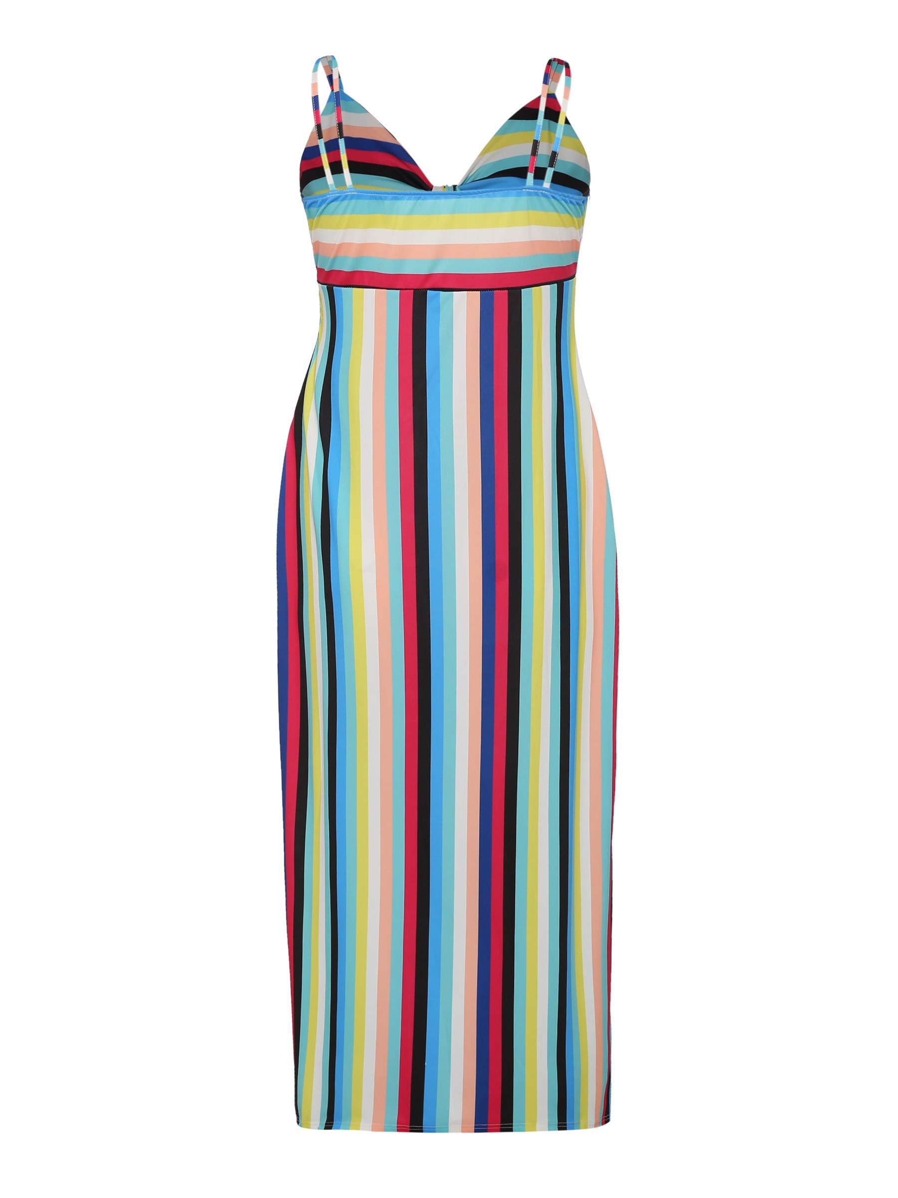 Ericdress Stripe Color Block Backless Bodycon Dress