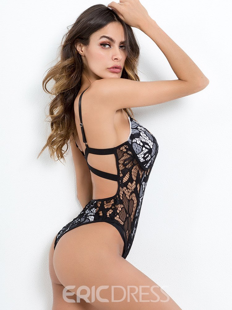 Ericdress Crochet Floral Two Layers Backless Sexy Teddy Bodysuit