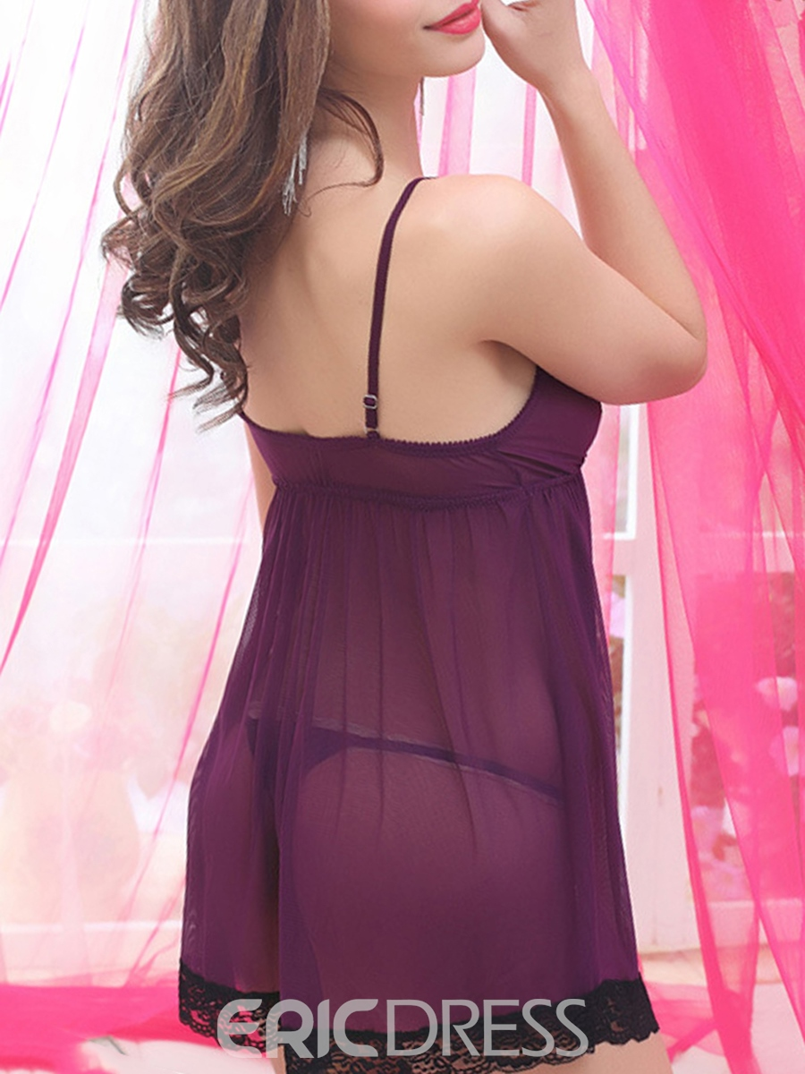 Eridress Color Block See-Through Lace Babydoll