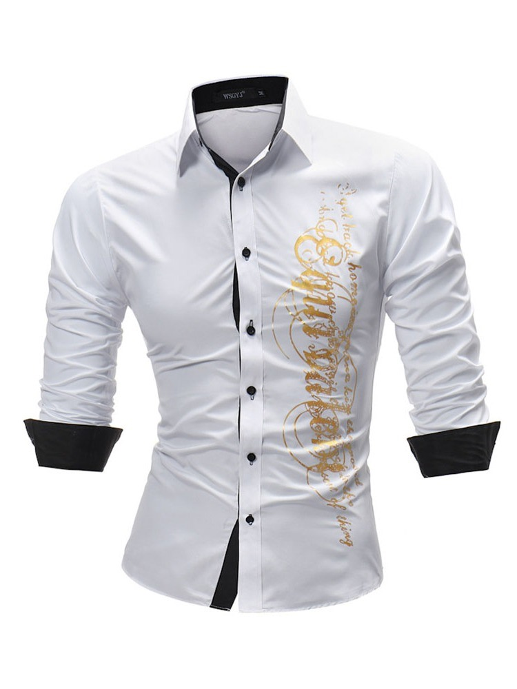 Ericdress Letter Printed Slim Fitted Mens Long Sleeve Shirts