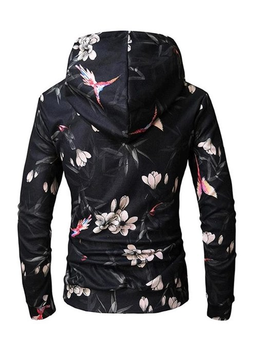 Ericdress Floral Printed Slim Fit Pullover Mens Casual Hoodies
