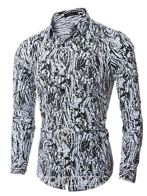 Ericdress Printed Slim Fitted Button Up Mens Casual Shirts