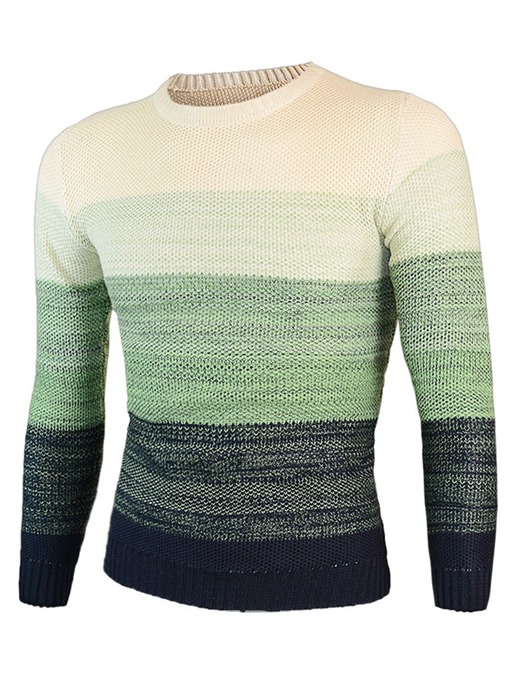 Ericdress Patchwork Color Block Slim Scoop Mens Sweaters