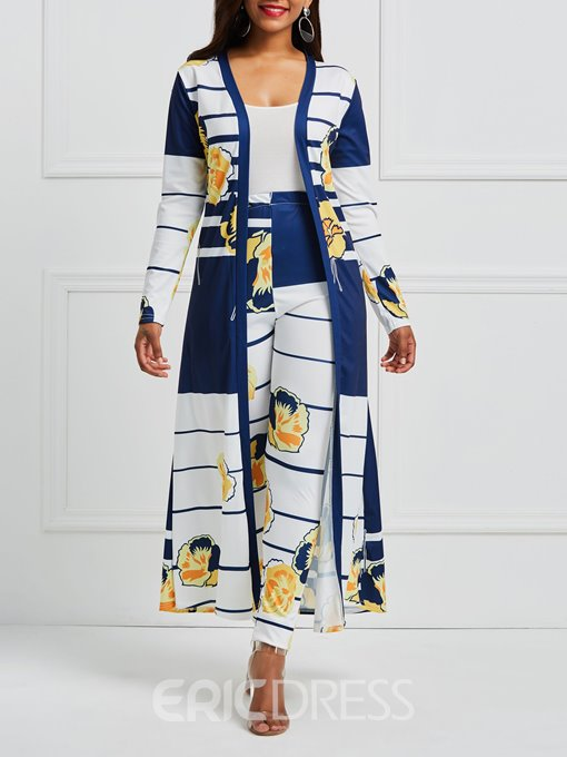 Ericdress Floral Striped Print Tench Coat and Pants Women's Two Piece Set