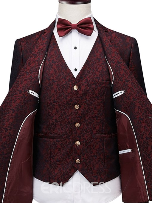 Ericdress Printed Red Mens 3 Pieces Casual Ball Wedding Suits