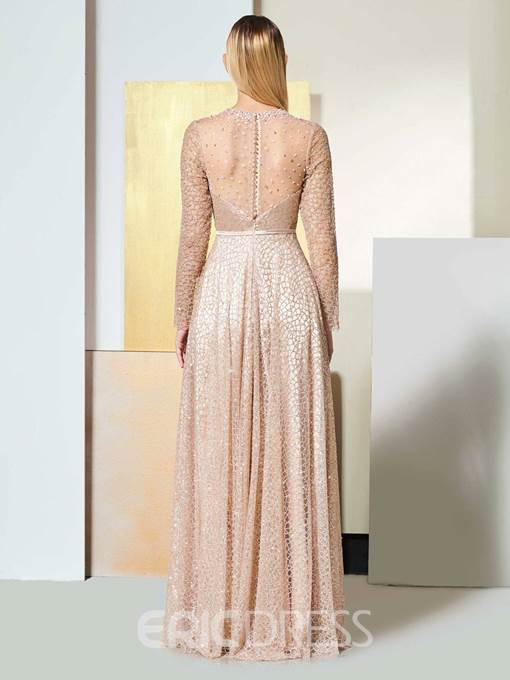 Ericdress A Line Long Sleeve Lace Evening Dress With Beadings