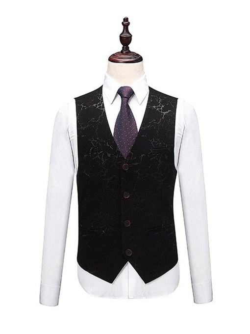 Ericdress Print Black 3 Pieces Mens Casual Ball Wedding Suits