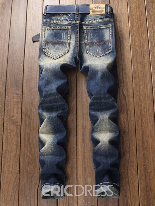 Ericdress Color Block Dark Blue Mens Ripped Jeans