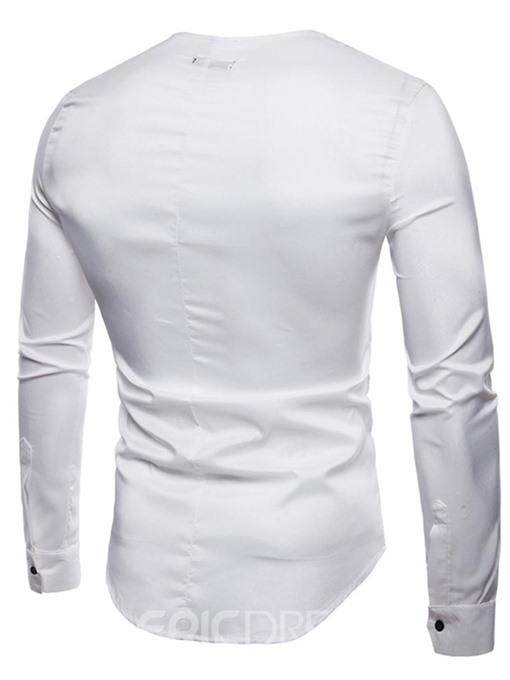 Ericdress Plain Slim Fitted Collarless Mens Long Sleeve Shirts