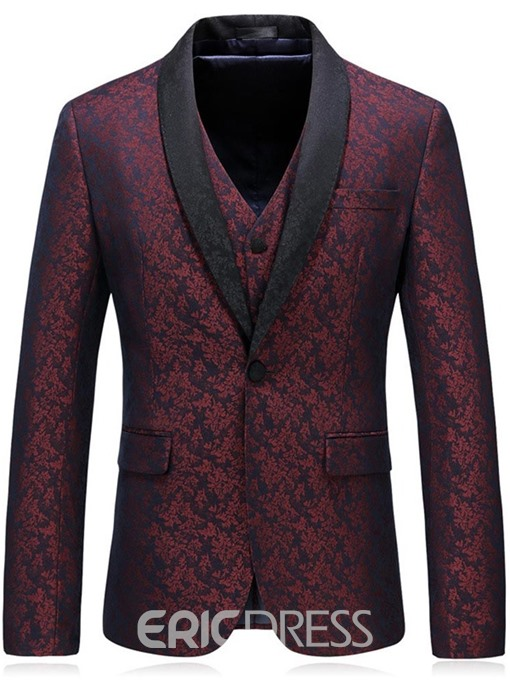 Ericdress Red Printed Shawl Collar Mens 3 Pieces Suits