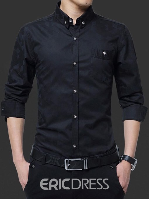Ericdress Plain Slim Fitted Button Down Mens Casual Dress Shirts