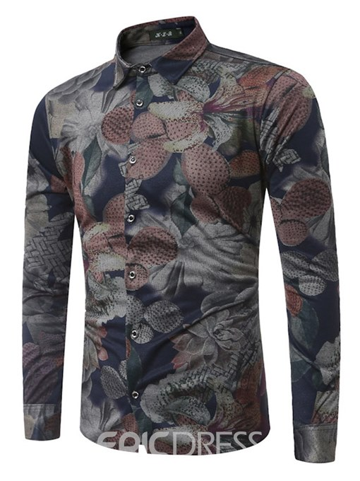 Ericdress Floral Printed Slim Fit Long Sleeve Casual Shirts