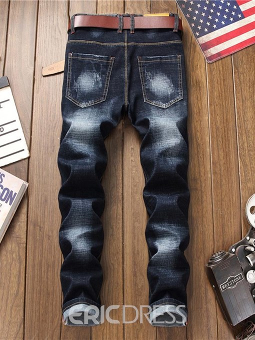 Ericdress Floral Embroidery Straight Mens Casual Jeans
