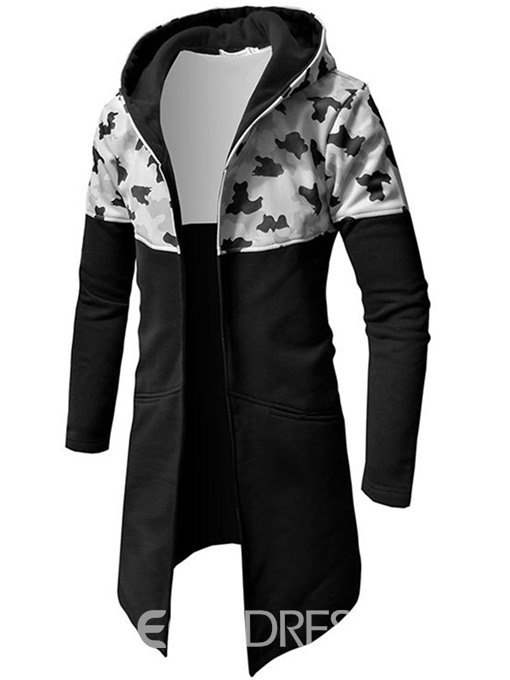 Ericdress Camouflage Patchwork Slim Mid-Length Hooded Mens Trench Coat