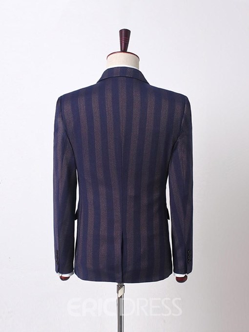 Ericdress Striped Button Designed Mens Casual 3 Pieces Suits