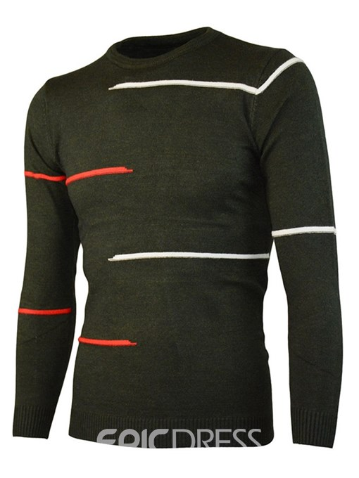 Ericdress Striped Print Slim Fitted Mens Casual Sweaters