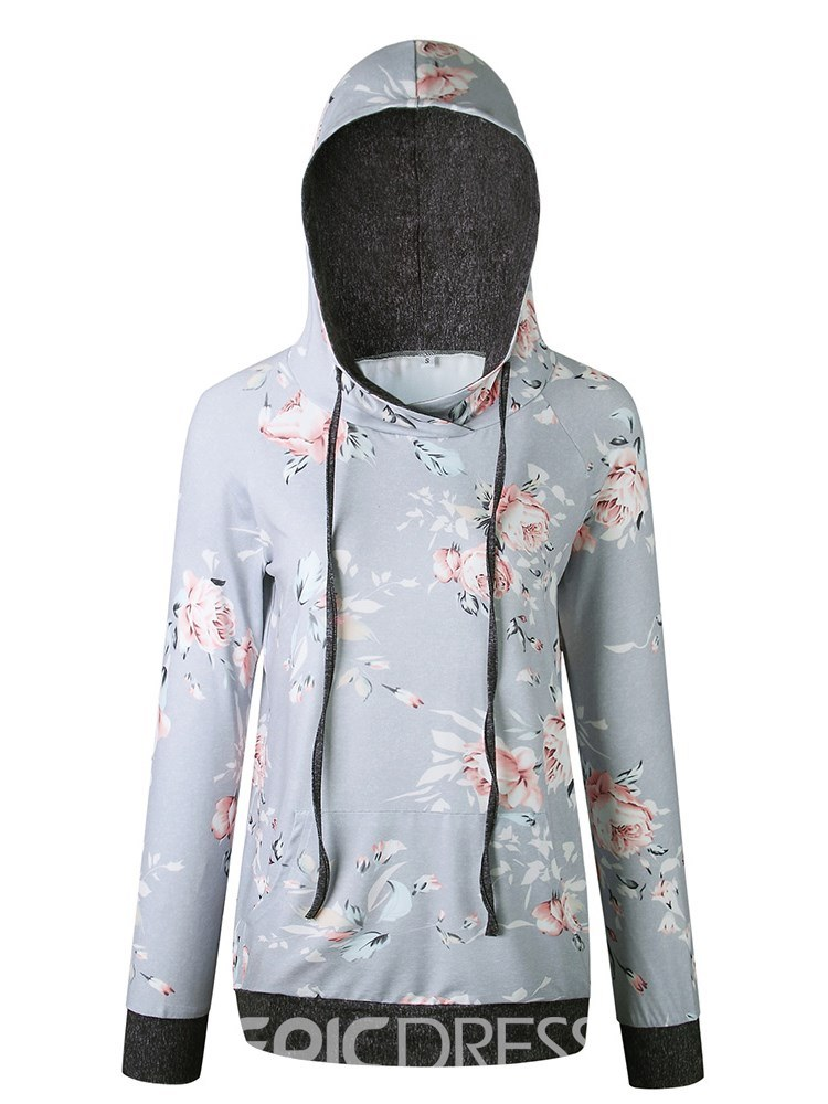 Ericdress Floral Print Mid-Length Long Sleeves Cool Hoodie