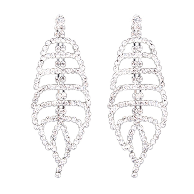 Ericdress Hollow out Diamante Leafage Fashion Earrings
