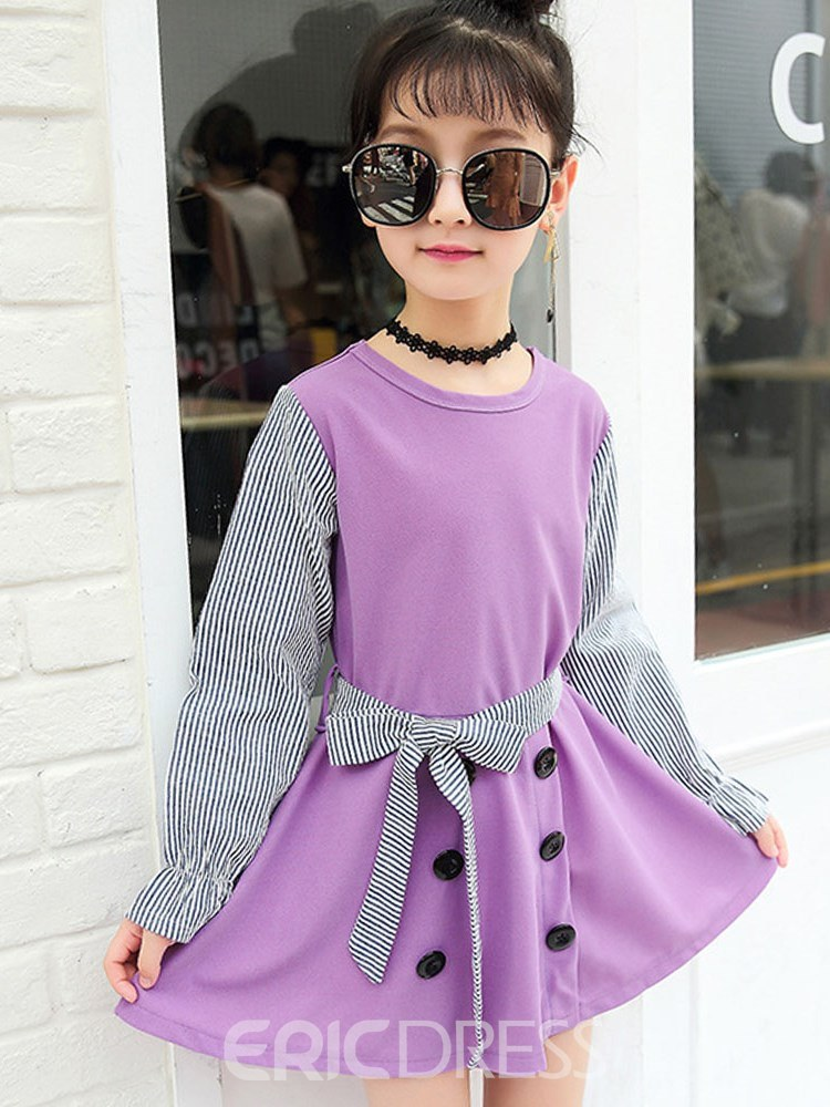 Ericdress Patchwork Stripped Bowknot Girl's Long Sleeve Dress