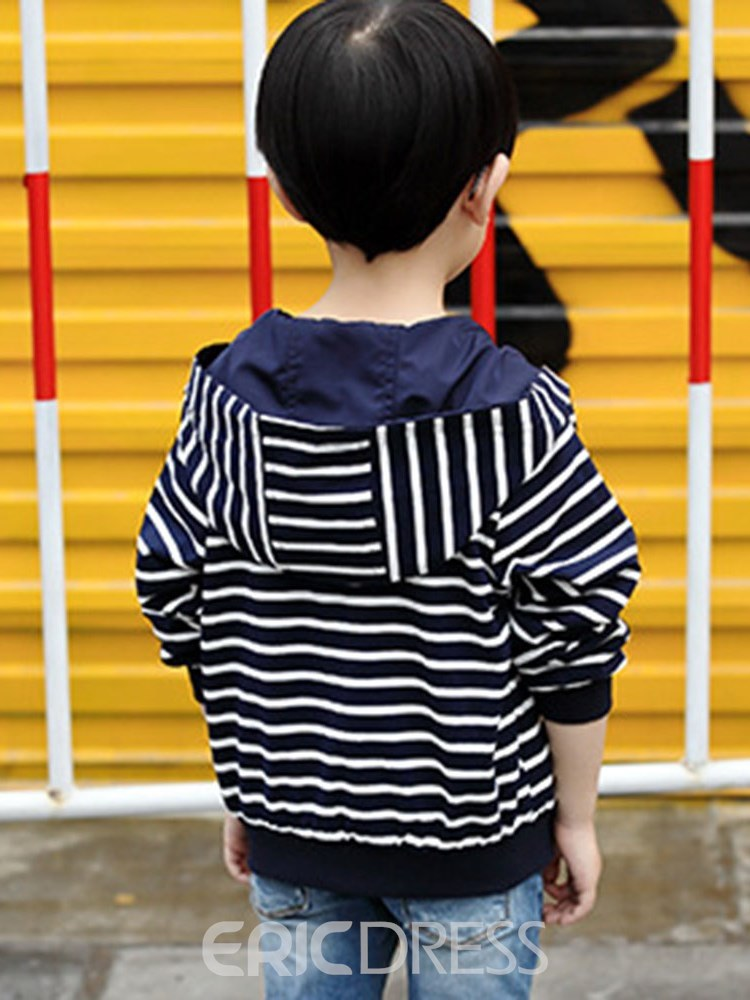 Ericdress Patchwork Stripped Loose Hooded Boy's Casual Outerwears