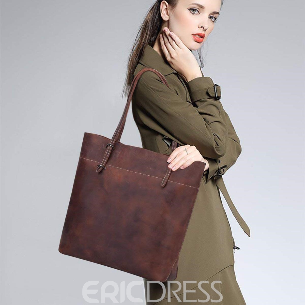 Ericdress Rectangle Plain Belt Decorated Shoulder Bag