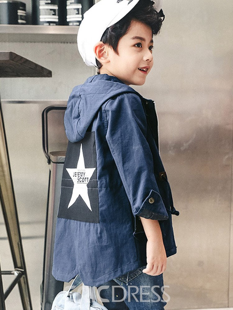 Ericdress Letter Appliques Hooded Mid-Length Boy's Casual Outerwears