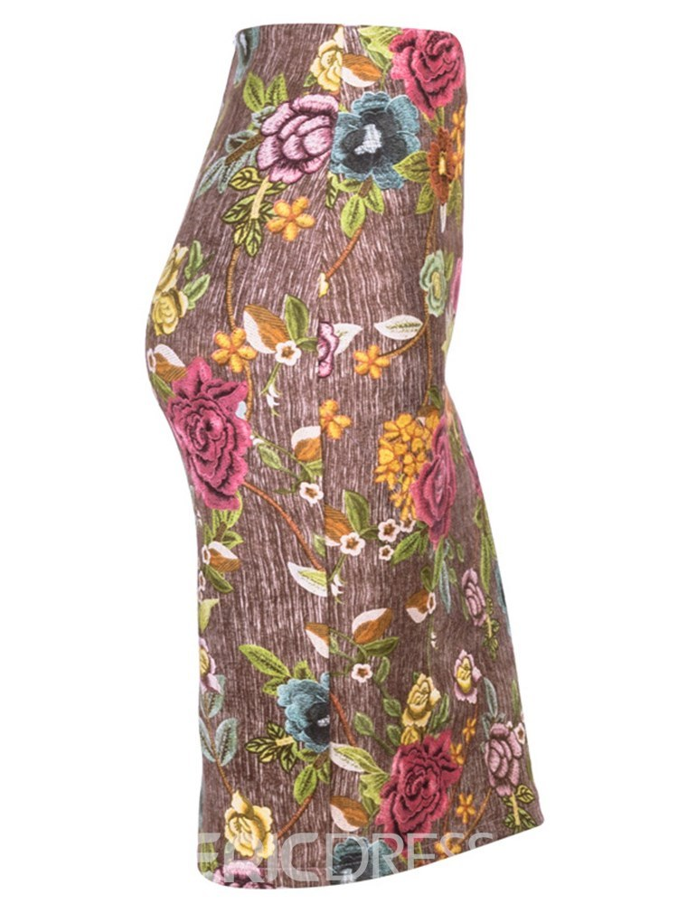 Ericdress Embroidery Bodycon Print Women's Skirt