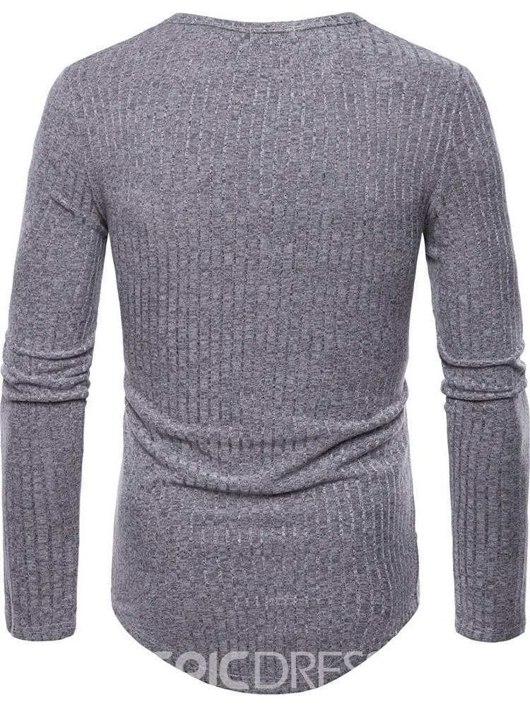 Ericdress Plain Slim Fitted Long Sleeve Mens Scoop Casual T Shirts