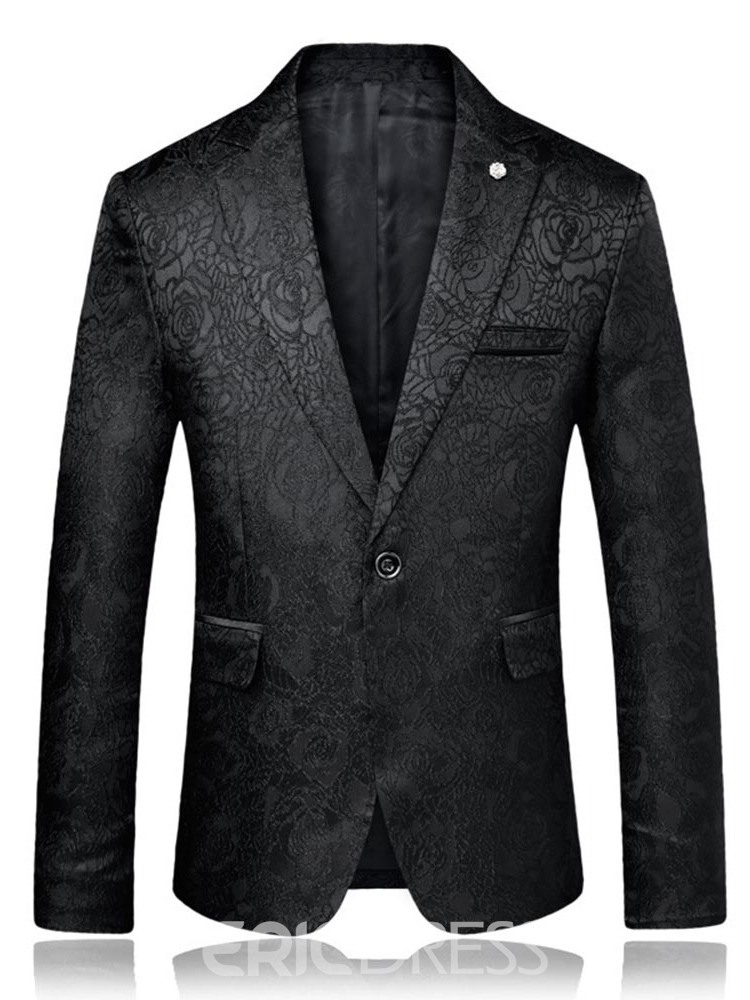 Ericdress Floral Printed One Button Slim Mens Casual Ball Blazer