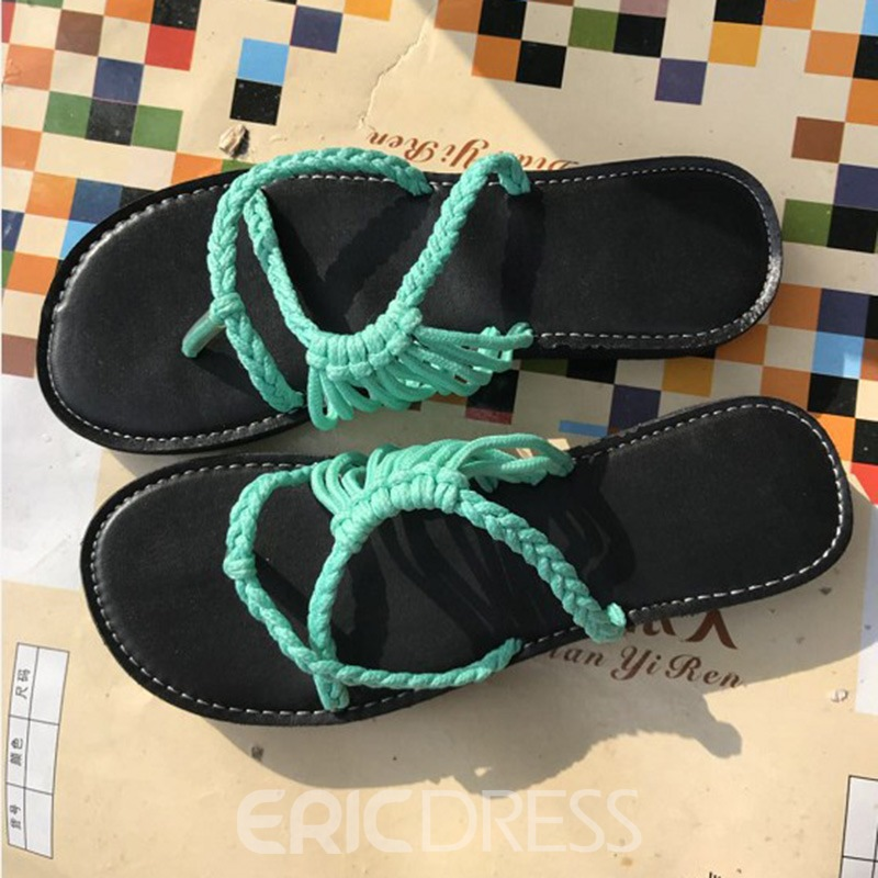 Ericdress Woven Slip-On Thong Beach Flat Sandals