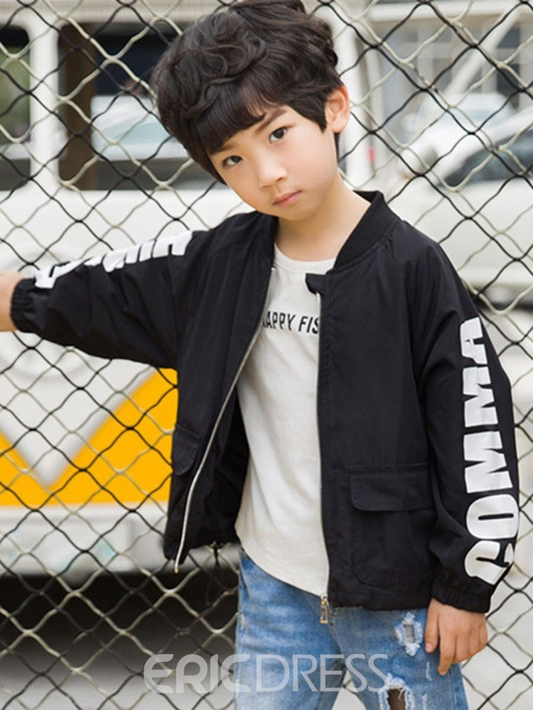 Ericdress Letter Printed Stand Collar Zipper Boy's Casual Outerwears