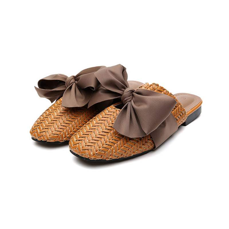 Ericdress Bowknot Knitted Slip-On Pointed Toe Flat Mules