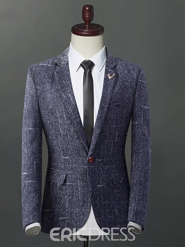 Ericdress Plaid Slim Fitted Flat Collar Mens Casual Businese Blazer